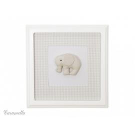 Obrazek beżowy z motywem beżowego słonika