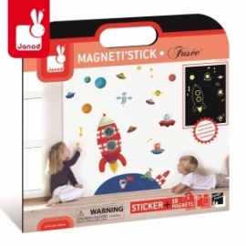Naklejka ścienna XL 19 magnesów Rakieta Magneti'Stick