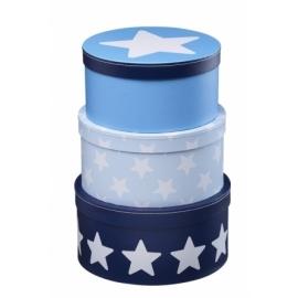 Pudełka Kartonowe Okrągłe niebieskie w gwiazdki