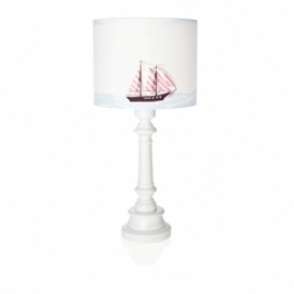 Lampa Okręt na Morzu z okrągłą białą nogą