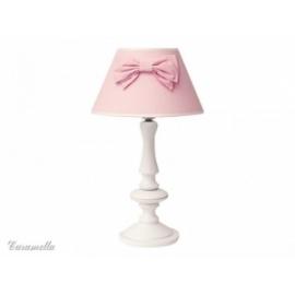 Lampka stojąca różowa w groszki z kokardą