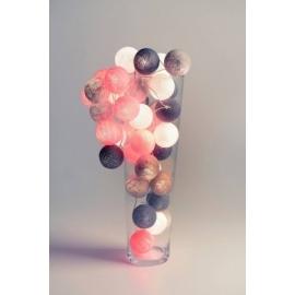 Cotton Ball Lights Grey & Pink