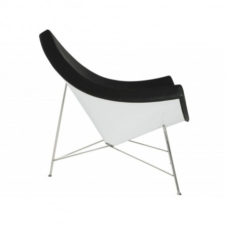 Fotel COCONUT czarna skóra - włókno szklan