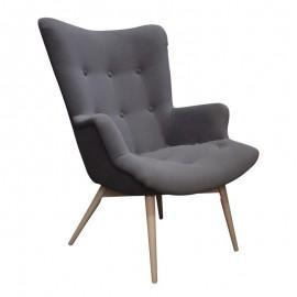 Fotel CONTOUR - antracytowy tapicerowany skandynawski
