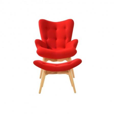Fotel CONTOUR - tapicerowany skandynawski czerwony