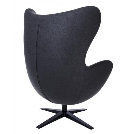Fotel EGG Szeroki ciemny szary - wełna, podstawa czarna