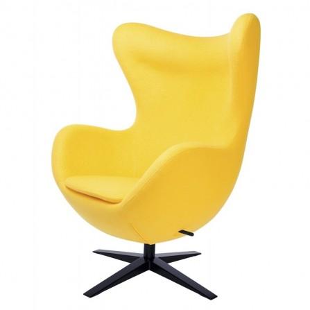 Fotel EGG jajowaty żółty wełna, podstawa czarna