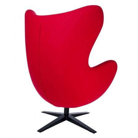 Fotel EGG jajowaty wełna, podstawa czarna kolor czerwony