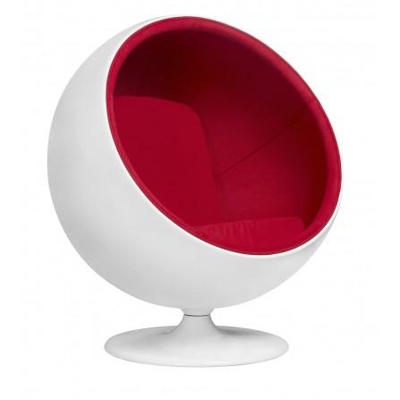 Fotel BALL czerwony włókno szklane, wełna