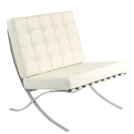 Fotel sofa BARCELON kolor biały skóra nogi chrom