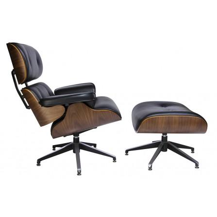 Fotel LOUNGE z podnóżkiem czarny - skóra naturalna, sklejka orzech