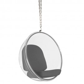 Fotel wiszący Bubble poduszka szara - korpus akryl, poduszka wełna