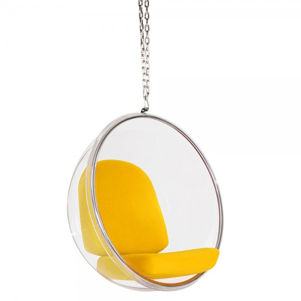 Fotel wiszący Bubble poduszka żółta - korpus akryl, poduszka wełna