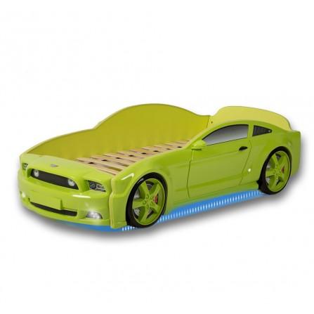 Łóżko dziecięce samochód MG 3D full mustang zielony