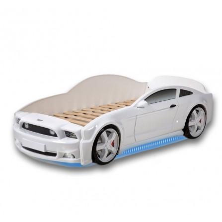 Łóżko dziecięce samochód MG 3D full mustang biały