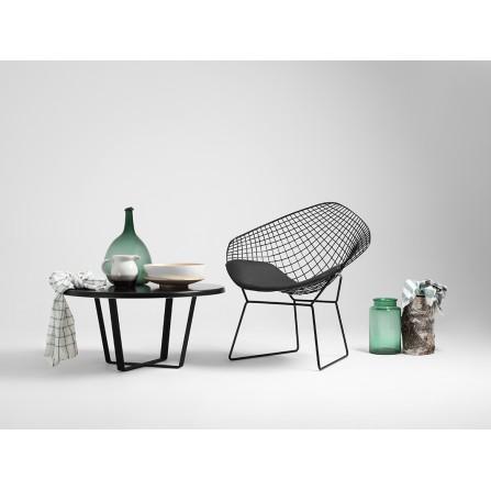 Krzesło DIAMENT - czarny, czarna poducha