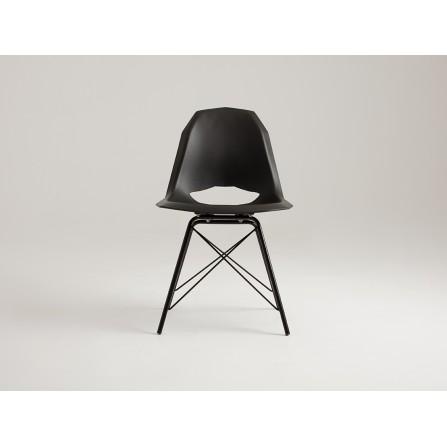 Krzesło MATCH METAL BLACK czarne loft skandynawski z przodu