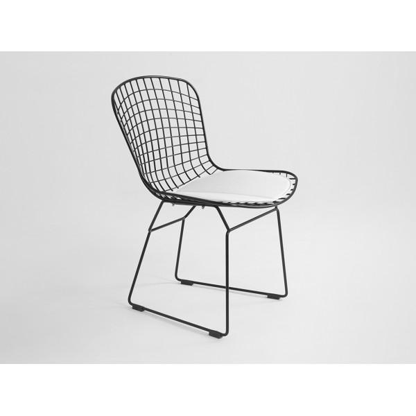 Krzesło WIR kolor czarny siatka siedzisko białe