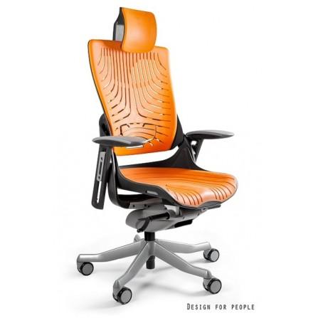 Fotel biurowy Wau 2 elastomer TPE ergonomiczny pomarańczowe oparcie i siedzisko